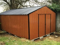 10ft x 20ft Wood Grain Steel Shed