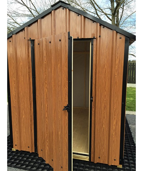 X Wood Grain Steel Shed Garden Sheds For Sale