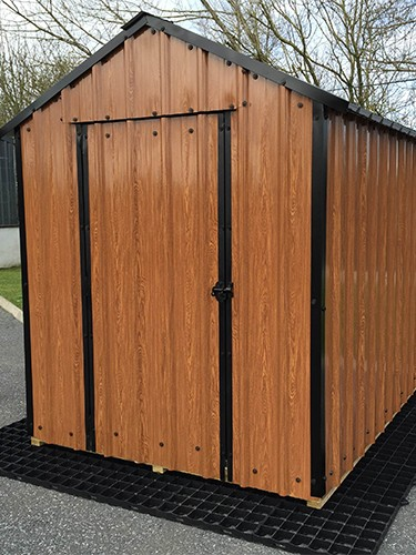 8ft x 6ft Wood Grain Steel Shed