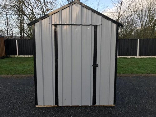 8ft x 6ft Grey Steel Garden Shed