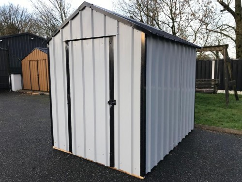 14ft x 6ft Grey Steel Garden Shed
